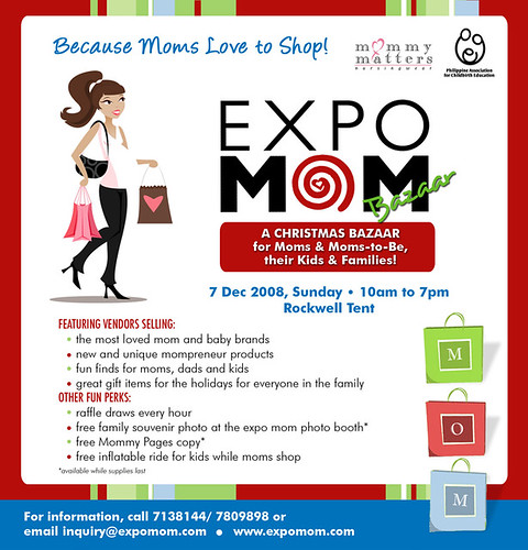 EXPO MOM BAZAAR, Dec 7 Rockwell Tent