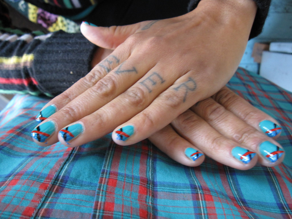 Nails arts in Small X on Blue Ocean Theme