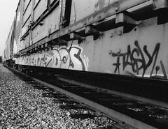 Graffiti (K.Haupt) Tags: blackandwhite film train bristol graffiti virginia railcar railroadtracks foma virginiaintermont