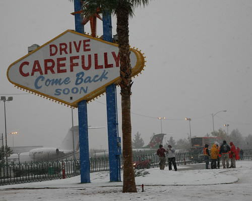 Snowy Las Vegas Sign