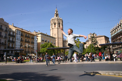 Jumping in the streets of Barcelona