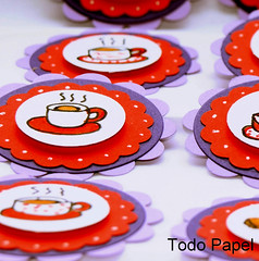 tea and biscuits paper embellishment (TodoPapel.com) Tags: red party hot english coffee paper cookie purple tea circles crafts illustrations biscuits embellishments papercrafts scalloped dimensional cardmaking scrapbookembellishments