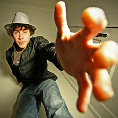 Day 266: Need a Hand? (Nick Today) Tags: portrait man smile self square lyrics hand stripes wide perspective sigma days fedora 365 1020mm helpinghand ironwine hip2bsquare cinderandsmoke icantgetenoughofthis1020mmlens