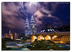 The Mosque and the Towers (DanielKHC) Tags: longexposure night digital high bravo cityscape dynamic sony petronas towers mosque malaysia kuala alpha range dri increase hdr klcc lumpur a100 ih blending abw themoulinrouge dynamicrangeincrease supershot 4exp spectnight mywinners abigfave anawesomeshot aplusphoto danielcheong superbmasterpiece infinestyle goldenphotographer diamondclassphotographer flickrdiamond megashot bratanesque danielkhc theperfectphotographer mercipourlatraductionvraimenttresbeautueschanceuxbisous