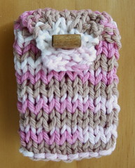 Brown and Pink Cotton Knit Purse -- Pink Pouch