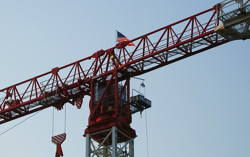Construction Crane with Old Glory - msh0408-3
