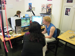 Susan Gold visiting students in crunch