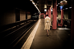 White dress on platform (hurworld) Tags: street red white paris train matt walking track metro escalator platform surreal gritty line invalides wife sortie pillars effect pacing traintrack vignette cardigan edgy whitecardigan leadinline leadin fiance artlibre redpillars artlibres lightroomkillertips