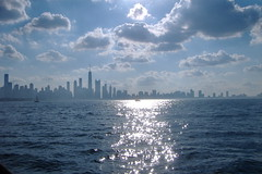 \/\/\_++ (Mr. Montrose) Tags: chicago water skyline clouds boats fire illinois day cloudy earth air lakemichigan justchicagoart