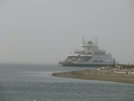 The M/V Steilacoom II rounds the corner