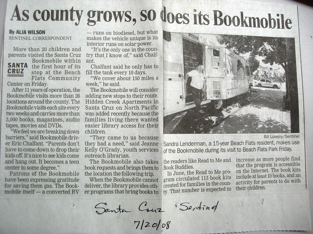 A green bookmobile in Santa Cruz