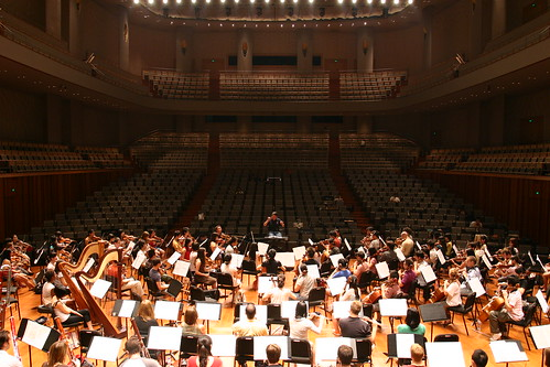 Earlier in the day, Maestro Hu rehearsed the orchestra in the Concert Hall of the National Center
