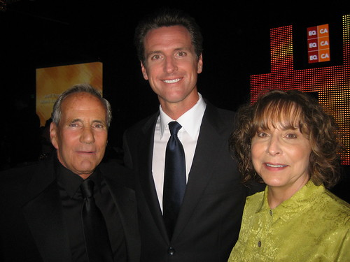 Political consultant Bob Burke, San Fran Mayor Gavin newsom, businesswoman and EQCA PAC chair Diane Abbitt.