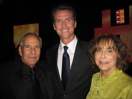Political consultant Bob Burke, San Fran Mayor Gavin newsom, businesswoman and EQCA PAC chair Diane Abbitt.