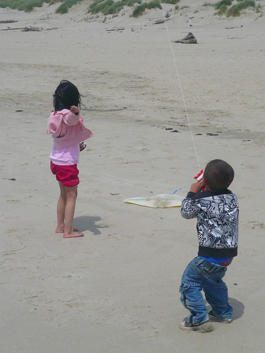 Gavin and Ina flying kites