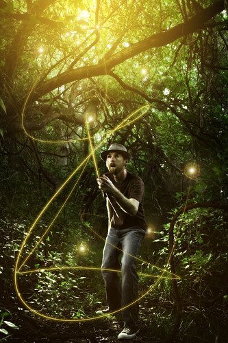 an inspired man, playing with light photography