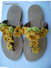 sandals with yellow crochet flowers (1) (creationsbyeve) Tags: flowers yellow europe handmade sandals crochet greece etsy