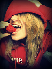 Little Red Hiding Hood (Dear Allison,) Tags: red color girl strawberry women little expression teeth explore riding eat blond fields hood beatles forever jpg hiding fairytales retainer allisonwonderland enstantane womenexpression grouptripod