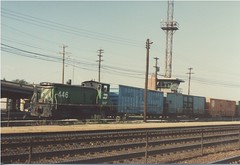 Morning switching activity at the Burlington Northern RR Clyde Yard. Cicero Illinois. June 1985.