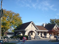 The lovely Metra , Stone Avenue commuter rail station. La Grange Illinois. October 2007.