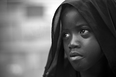 Goddess of Sadness (Khaled A.K) Tags: portrait blackandwhite black girl scarf children sadness child portraiture sa jeddah saudiarabia khaled ksa saudia kashkari jeddahshooters