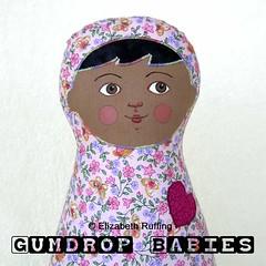 """""""Gumdrop Baby"""" Original One-of-a-kind Cloth Doll by Elizabeth Ruffing"""