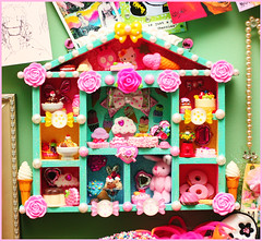 Sweet Tooth Playhouse (stOOpidgErL) Tags: pink flowers house color cute art rose cake collage pie skull miniature diy aqua cookie candy sweet handmade assemblage pastel hellokitty stickers pudding craft pearls whippedcream bow icecream donut kawaii sundae gumballmachine stoopidgerl