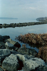 Depth of Field (JohnRiccio) Tags: autumn usa ny film water rocks minoltax700 catharsis niagarariver northtonawanda kodakportra skippingschool northtonawandany taoriver