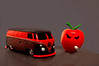 bad apples (Carrie Taylor) Tags: red bus apple freeassociation vw volkswagen toy toys interestingness bad smoking kidrobot kozik matchbox mongers microbus diecast carrietaylor interestingness101808393