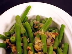 green beans shallots walnuts