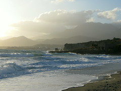 south wind day (venetia 27) Tags: mountains clouds sand waves pebbles crete earlyevening southwind makrigialos diaskaribeach