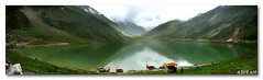 Jheel Saiful Malook Panorama (See in Full size) (ahsan.amin (Work Work And Work)) Tags: pakistan panorama lake mountains green water clouds canon landscape boats north powershot huts boating pointandshoot fairies kaghan fairyland chill thrill waterscape naran a560 blueribbonwinner mazay jheel saifulmalook handheldpanorama canonpowershota560 pakistannorthernareas shazadsaif iloosed2kgduetohiking