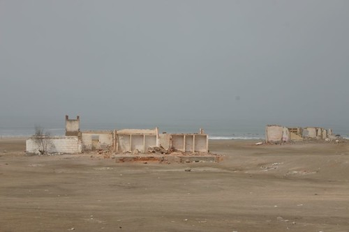 Deserted houses on the Pacific coast...