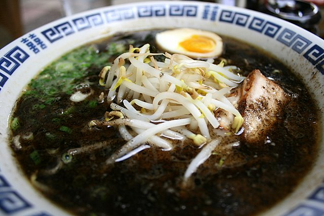 Pork bone broth ramen with scorched sesame and garlic oil