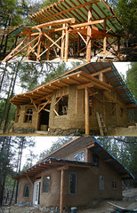 Six Months of Progress (tylerwawa) Tags: building site natural timber plaster clay cob strawbale harvested roundwood lightstraw earten