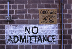 no admittance (kickstock) Tags: underground 10 conduit lightswitch noadmittance warningsign stockphoto stockimage highvoltagecables buired 000volts