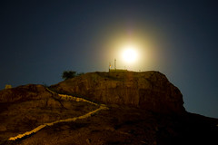 There is always a hard way and an easy one to reach at the top, destiny choses what is best for you. (Explored). (Commoner28th) Tags: blue pakistan sky moon mountain tree home saint night way stars path top flag ahmed sindh indus csa ivc agha waseem pakistanrailway commoner sukkur indusvalley rohri pakistanrailways indusvalleycivilization kommoner commoner28th ocommoner28th