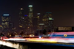 LA skyline (Eric Wolfe) Tags: california city usa skyline night buildings landscape la losangeles downtown cityscape nightscape unitedstates metro towers freeway skyscapers original:filename=200812120324jpg