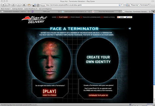 Pizza Hut: Terminator  microsite