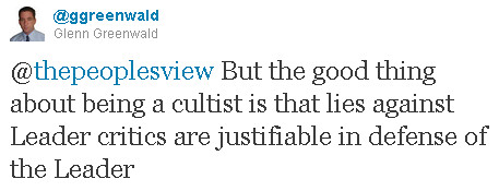 Greenwald calls TPV cultist