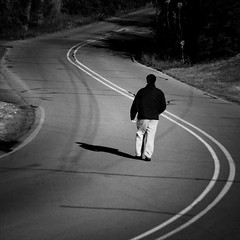 The Long And Winding Road (Jeremy Stockwell) Tags: road street bw selfportrait me walking nikon walk beatles curve vignette thelongandwindingroad thebeatles longandwindingroad d40 beatlessong jeremystockwell selfportraitchallenge jeremystockwellpix beatlessongs nikond40
