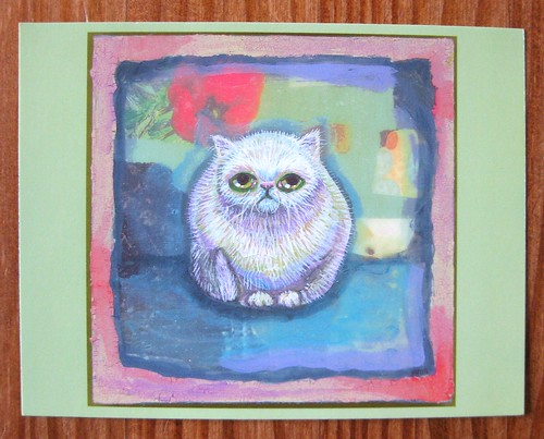 Worried cat postcard by Schmoomunitions