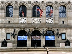 The Boston Public Library (RajRem) Tags: park city travel blue trees cambridge light white snow abstract reflection building tree tower art clock church glass grass rain statue boston architecture night clouds photoshop canon garden bench square ma photography bravo exposure cityscape view shot state image photos walk top library flag massachusetts bridges center science architectural christian peoples explore trinity highrise trinitychurch reach benches architects johnhancock bostonpubliclibrary copley prudential backbay topic hynes bostonist boylstonstreet customhouse metroboston mywinners avision canon400d canondigitalrebelxti betterthangood