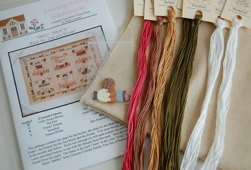 "Country Cottage Needleworks ""Sweet Treats"" With my own coffee-dyed linen."