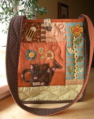 SpringTime bag 3 - front (PatchworkPottery) Tags: flower bird bag handmade sewing crafts bee quilted messenger patchwork applique handbag wateringcan