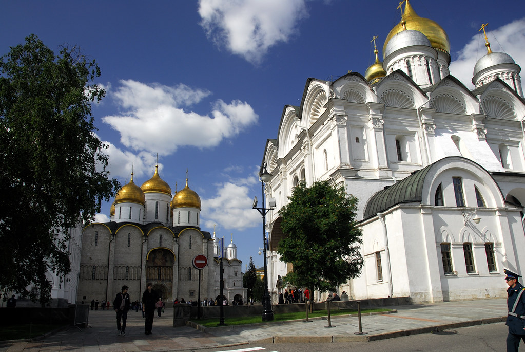 The Cathedral of the Assumption and the Cathedral of the Archangel in Moscow