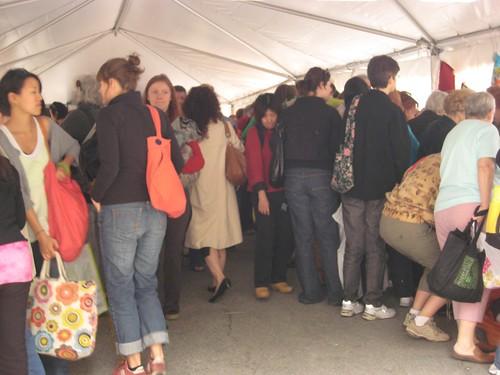 inside a fabrics tent