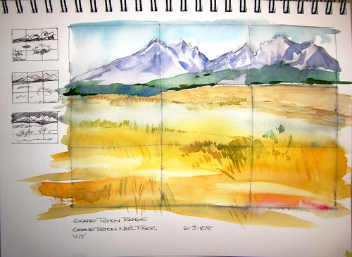 Watercolor Sketch - Grand Teton Range