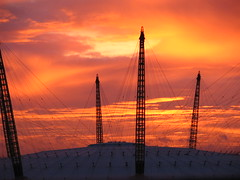 Millenium Dome (timinbrisneyland) Tags: sunset england sky london thames architecture fire cables dome canarywharf millenniumdome p1f1