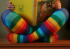 Listen With Mother (sosij) Tags: selfportrait book sitting stripes mother funky story storytime crossedlegs stripeysocks rainbowsocks vintagebook kneehigh oxfordbooks multicolouredsocks listenwithmother storyl bigbookoffarmfriends 1938book 2008socks